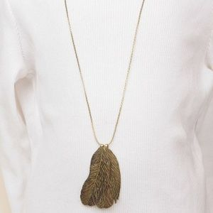 Rachel Brass Chain Feather Pendant Necklace #129